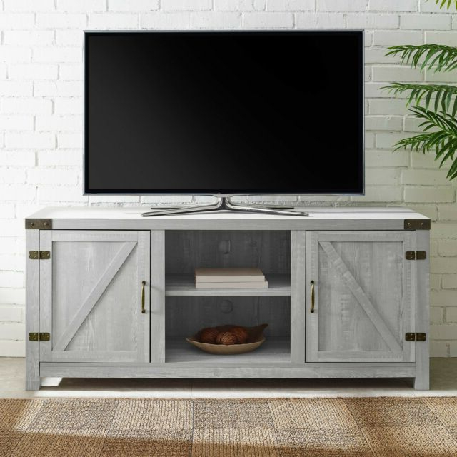 Rustic Stone Gray Entertainment Center 65 Inch Tv Stand With Regard To Tv Stands In Rustic Gray Wash Entertainment Center For Living Room (View 4 of 20)