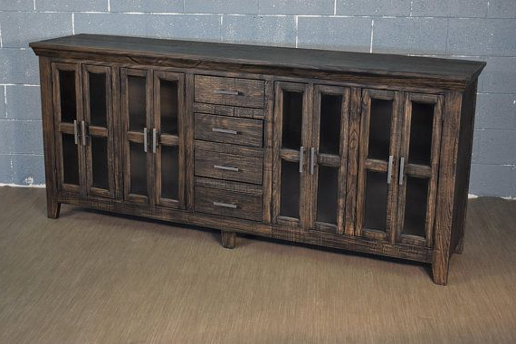 Rustic Style Solid Wood 82 Display Sideboard Media Regarding Lucy Cane Grey Wide Tv Stands (View 14 of 20)