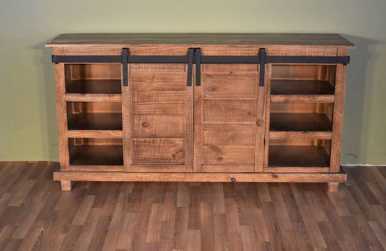 Rustic Style Solid Wood Barn Door Sliding Door Tv Stand With Regard To Barn Door Wood Tv Stands (View 1 of 20)
