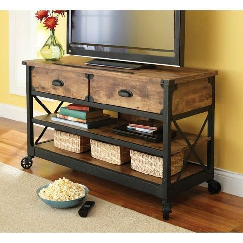 Rustic Tv Stand Console 2 Drawers Restoration Industrial In Manhattan 2 Drawer Media Tv Stands (View 5 of 20)