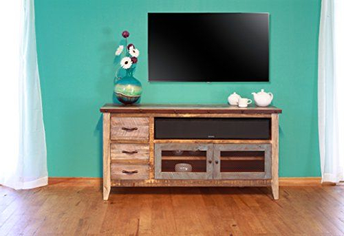 """Rustic Western 60"""" Reclaimed Look Multi Colored Louvered For Jackson Corner Tv Stands (View 3 of 20)"""