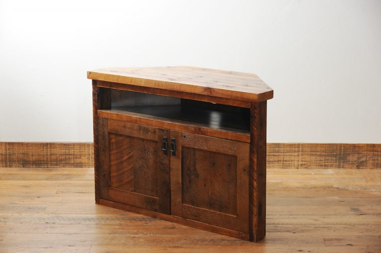 Rustic Wood Corner Tv Stand With Storage   Four Corner Intended For Naples Corner Tv Stands (View 7 of 20)