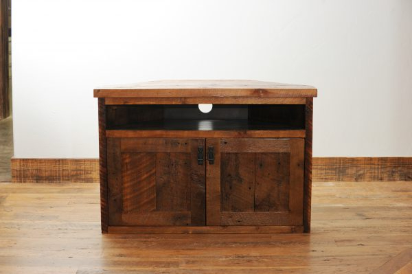 Rustic Wood Corner Tv Stand With Storage   Four Corner Throughout Naples Corner Tv Stands (View 18 of 20)