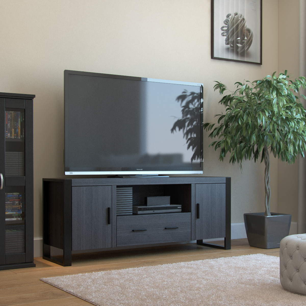 """Ryan Rove Bermuda 60 Inch Tv Stand In Charcoal And Black Regarding Adayah Tv Stands For Tvs Up To 60"""" (View 11 of 20)"""