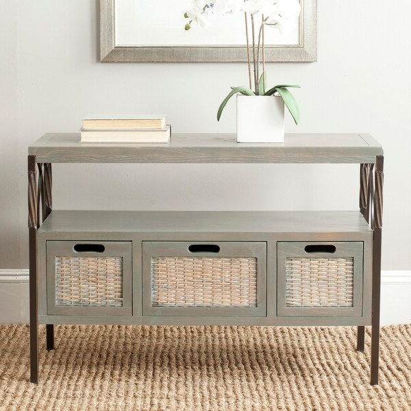 Safavieh Joshua Ash Grey Tv Stand – On Sale – Overstock In Farmhouse Woven Paths Glass Door Tv Stands (View 7 of 20)