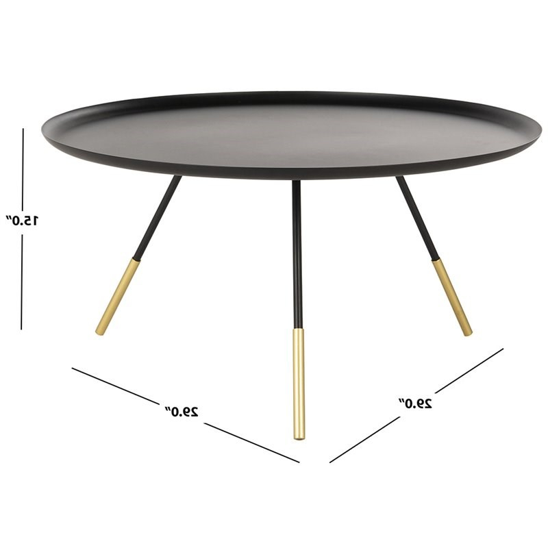 """Safavieh Orson 29"""" Round Metal Coffee Table In Black And With Orsen Tv Stands (View 18 of 20)"""