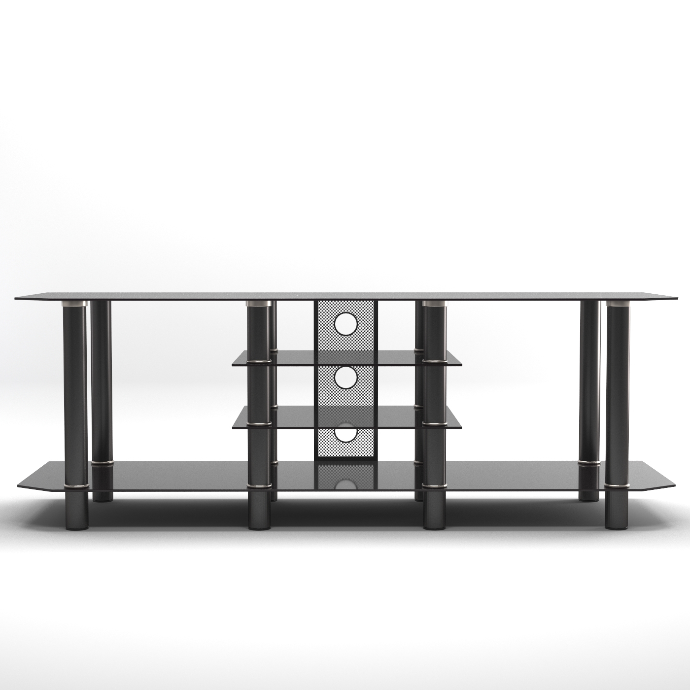 """Salerno 60 Inch Glass Tv Stand In Black In Glass Shelves Tv Stands For Tvs Up To 60"""" (View 12 of 20)"""