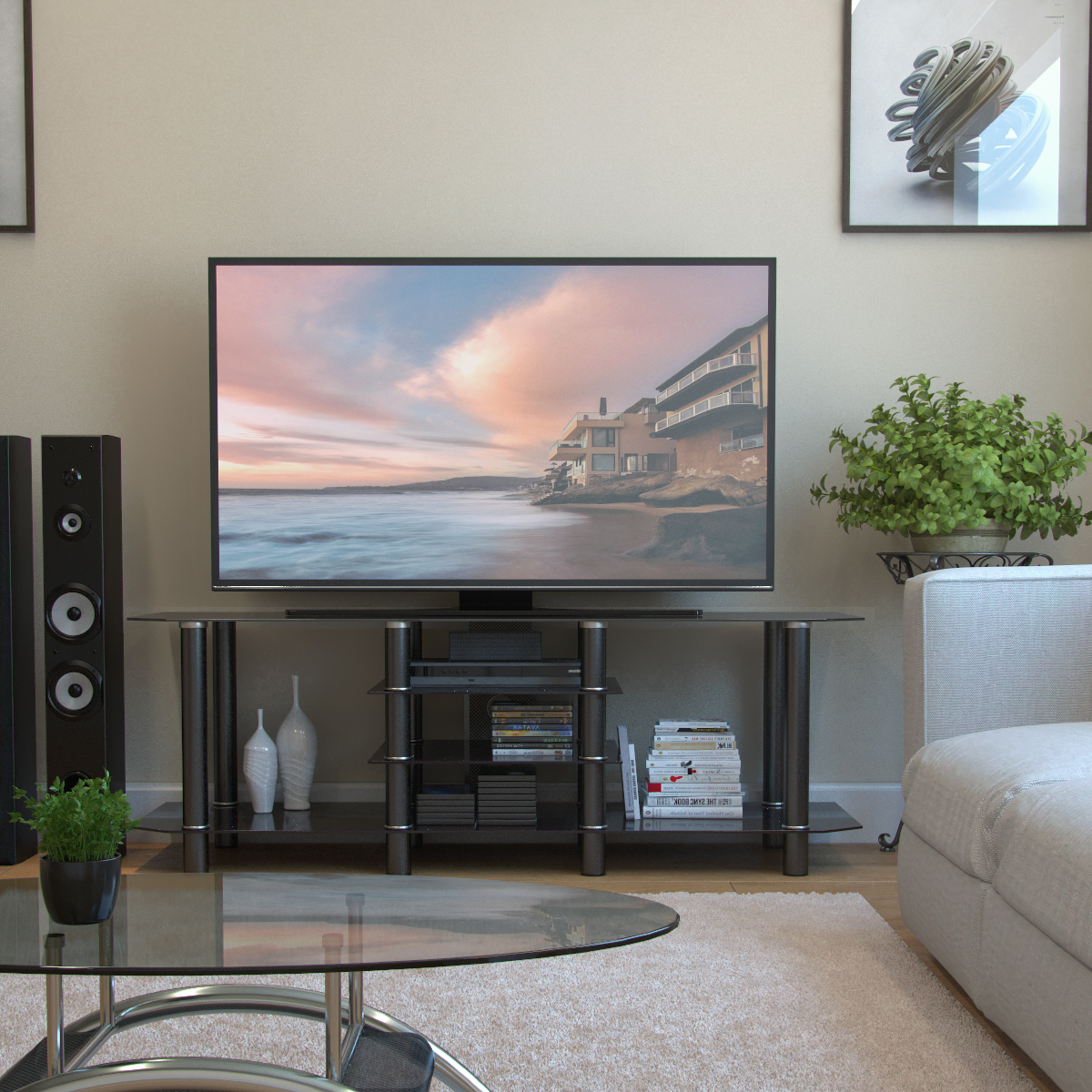 """Salerno 60 Inch Glass Tv Stand In Black Regarding Lorraine Tv Stands For Tvs Up To 60"""" (View 8 of 20)"""