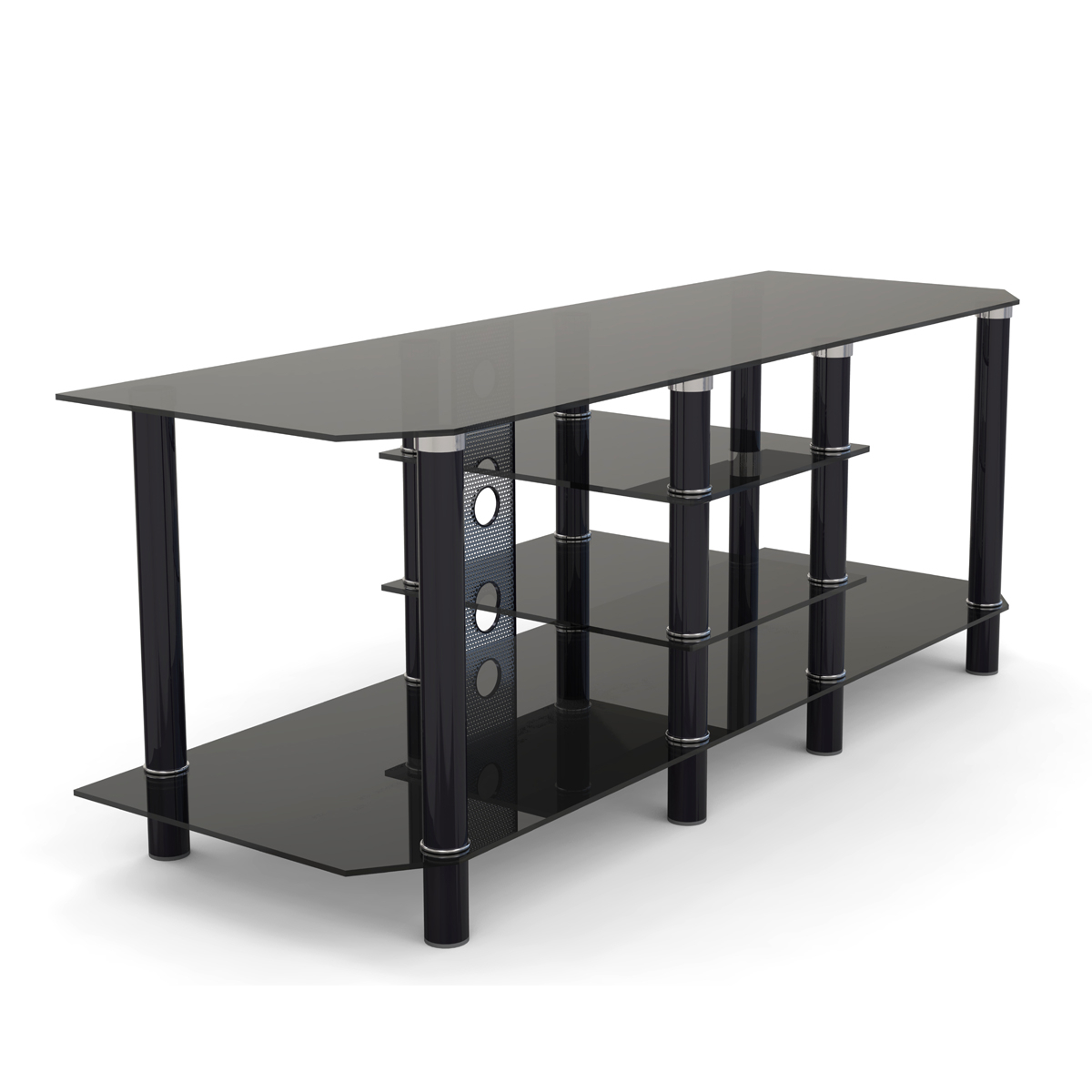 """Salerno 60 Inch Glass Tv Stand In Black Throughout Glass Shelves Tv Stands For Tvs Up To 60"""" (View 15 of 20)"""