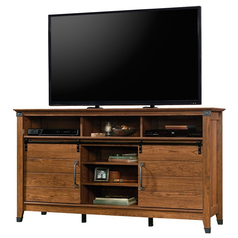 """Sauder Carson Forge 63"""" Tv Stand In Washington Cherry – 421953 With Regard To Carson Tv Stands In Black And Cherry (View 11 of 20)"""