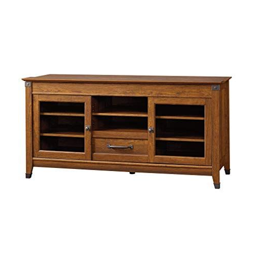Sauder Carson Forge Entertainment Credenza, For Tv S Up To In Carson Tv Stands In Black And Cherry (View 12 of 20)