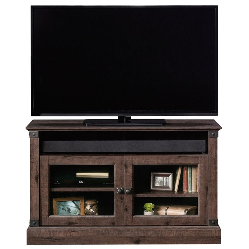 """Sauder Carson Forge Panel 43"""" Tv Stand In Coffee Oak – 422036 With Carson Tv Stands In Black And Cherry (View 1 of 20)"""