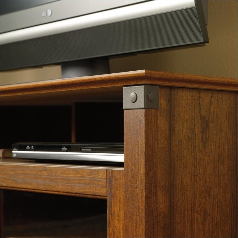 Sauder Carson Forge Panel Tv Stand In Washington Cherry Throughout Carson Tv Stands In Black And Cherry (View 15 of 20)