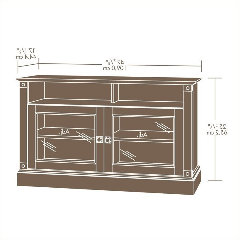 Sauder Carson Forge Panel Tv Stand In Washington Cherry Within Carson Tv Stands In Black And Cherry (View 18 of 20)