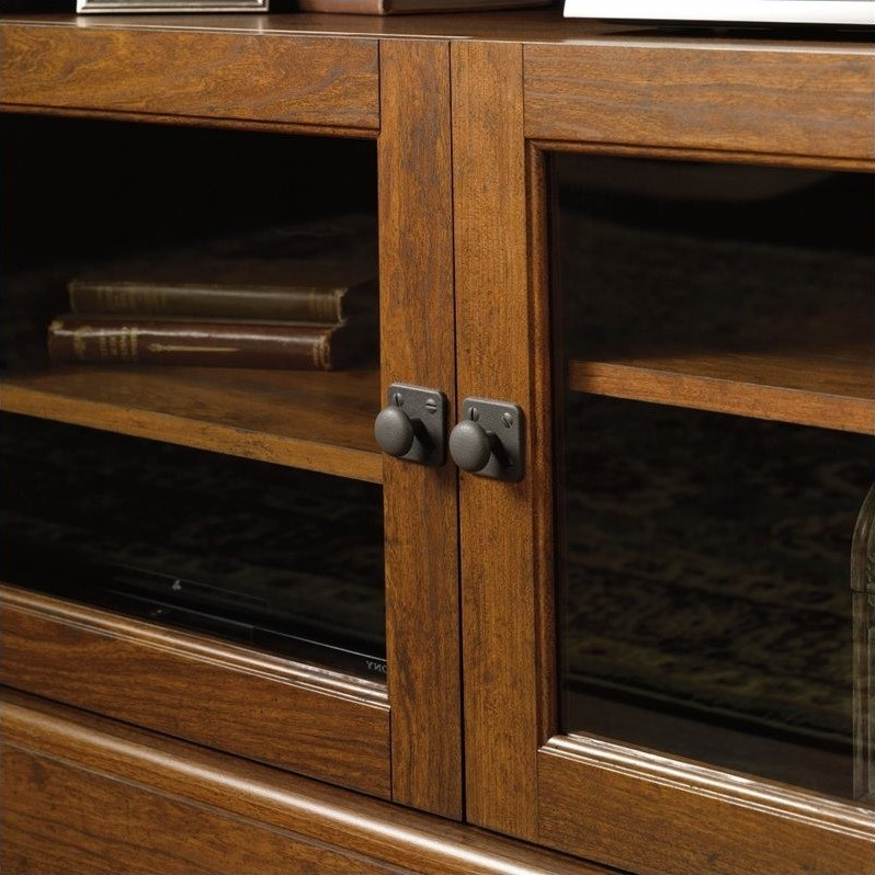 Sauder Carson Forge Panel Tv Stand In Washington Cherry Within Carson Tv Stands In Black And Cherry (View 17 of 20)