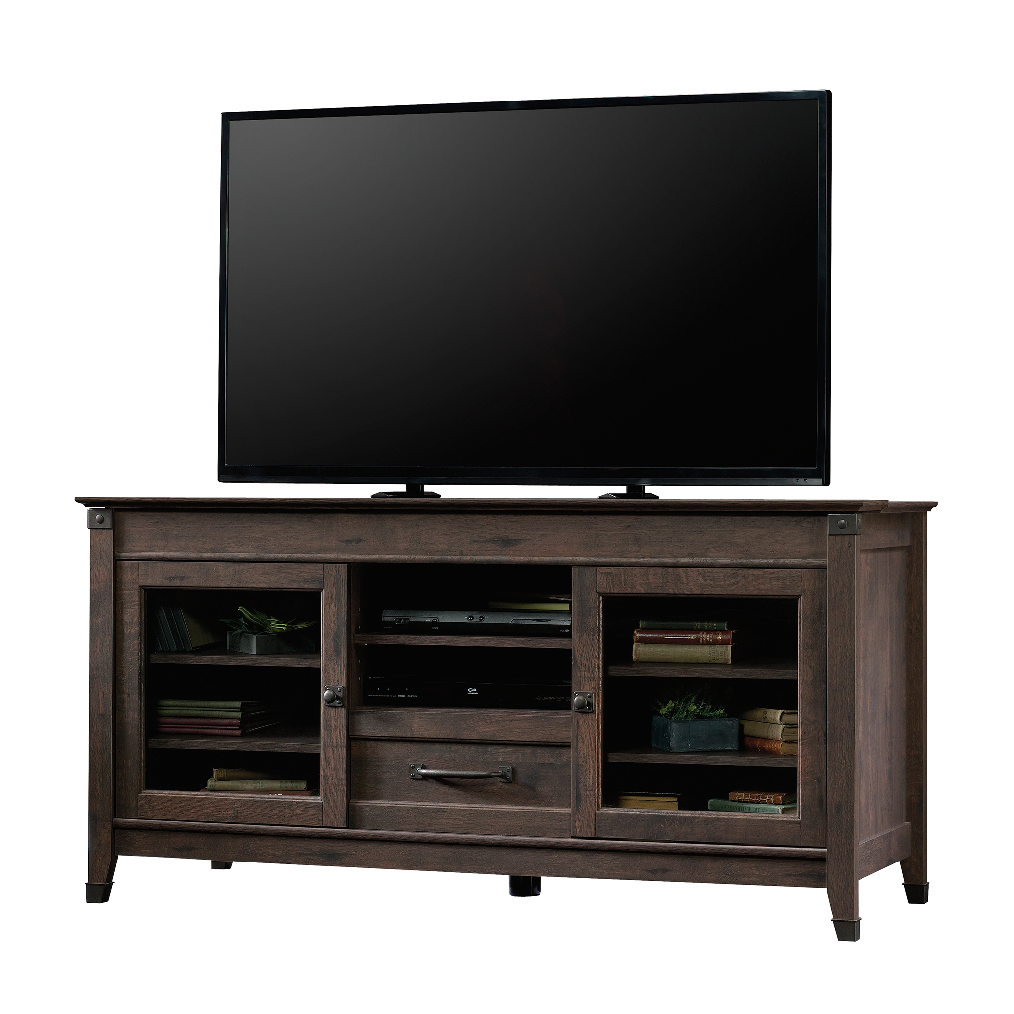 """Sauder Carson Forge Tv Stand For Tvs Up To 60"""", Coffee Oak Inside 60"""" Corner Tv Stands Washed Oak (View 8 of 20)"""