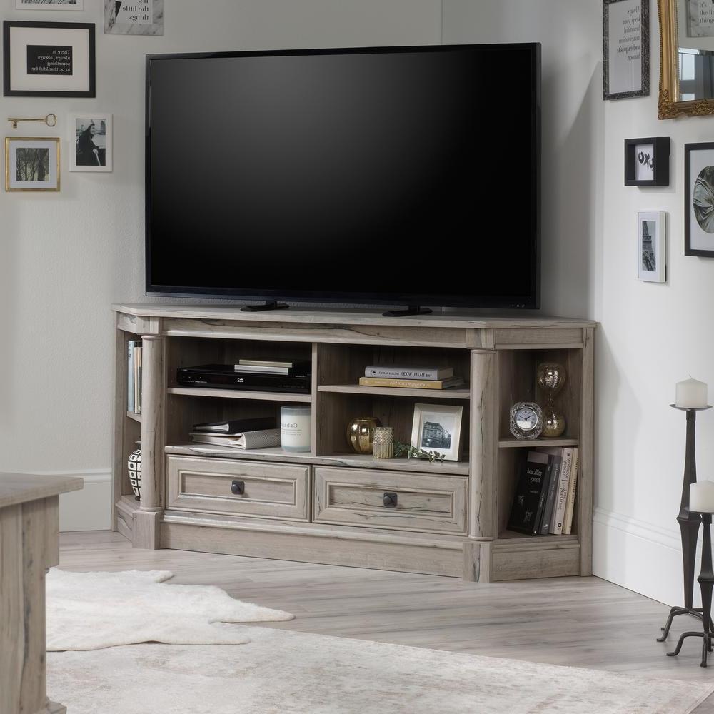 Sauder Corner Tv Stand 2 Drawer Adjustable Shelves Intended For Modern 2 Glass Door Corner Tv Stands (View 5 of 20)