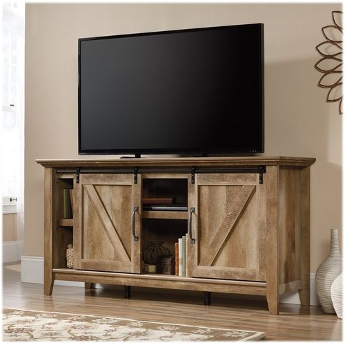 Sauder – Dakota Pass Collection Tv Cabinet For Most Flat In Farmhouse Sliding Barn Door Tv Stands For 70 Inch Flat Screen (View 8 of 20)