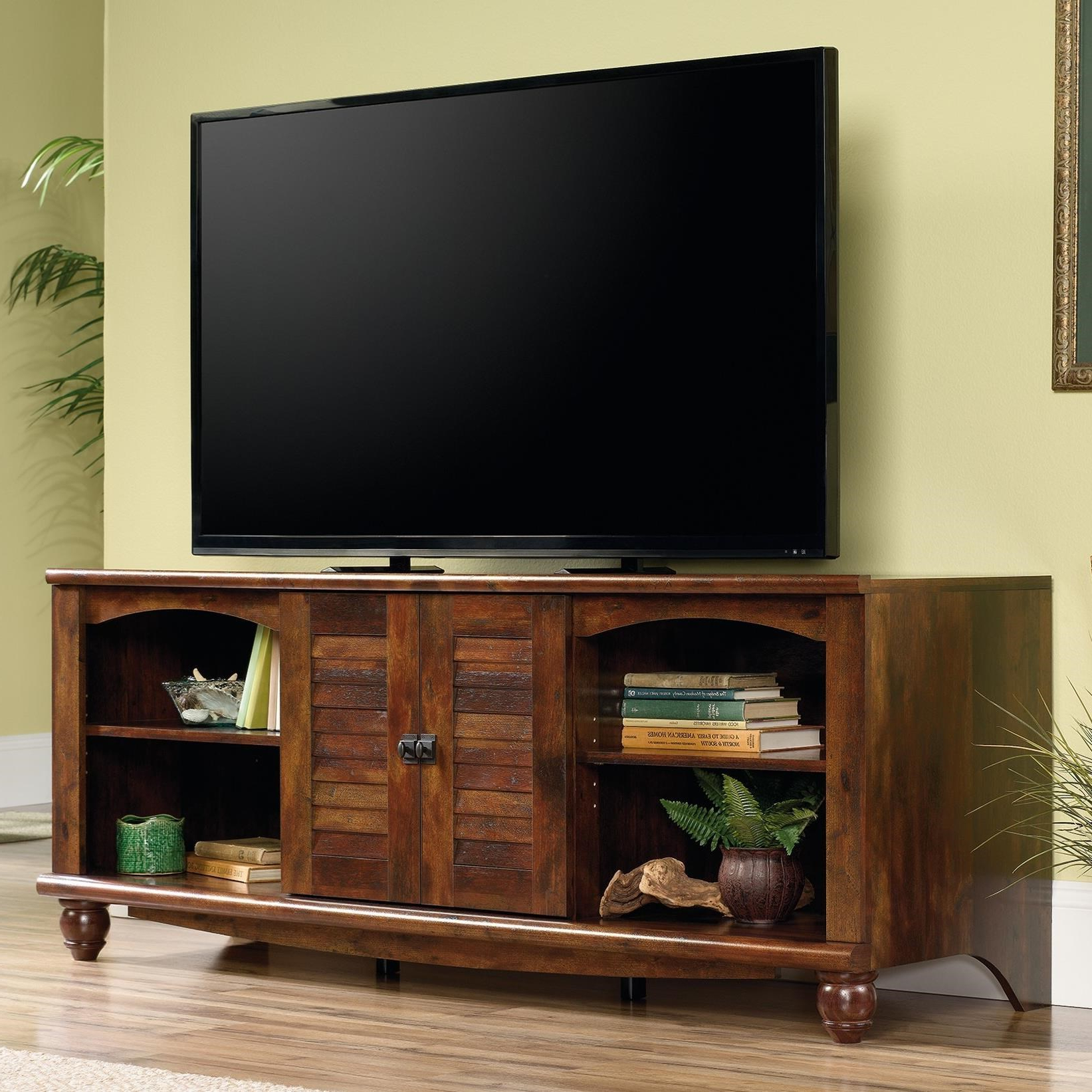 """Sauder Harbor View 62"""" Louver Door Entertainment Credenza Intended For Harbor Wide Tv Stands (View 15 of 20)"""