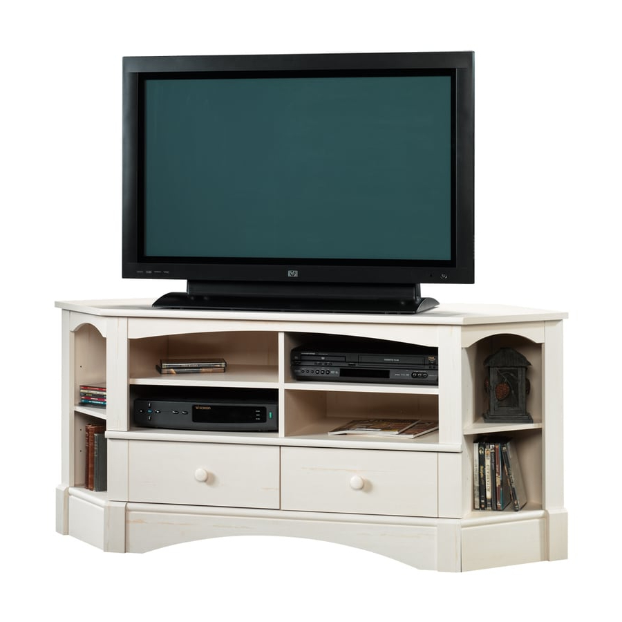 Sauder Harbor View Antiqued White Corner Tv Stand At Lowes In Priya Corner Tv Stands (View 3 of 20)