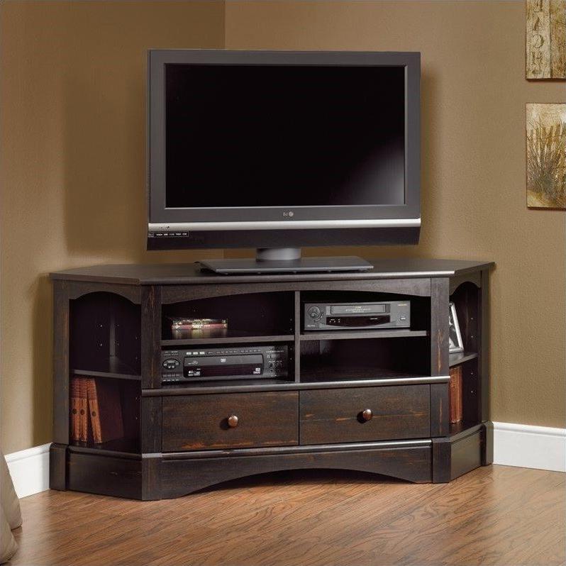 Sauder Harbor View Corner Tv Stand In Antiqued Black – 402902 Regarding Samira Corner Tv Unit Stands (View 9 of 20)
