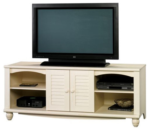 Sauder Harbor View Entertainment Credenza Antiqued White With Harbor Wide Tv Stands (View 12 of 20)