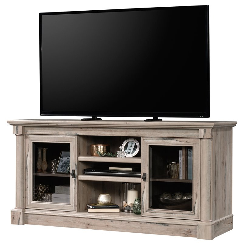 """Sauder Palladia Contemporary Wood 60"""" Tv Stand In Split Pertaining To 60"""" Corner Tv Stands Washed Oak (View 9 of 20)"""