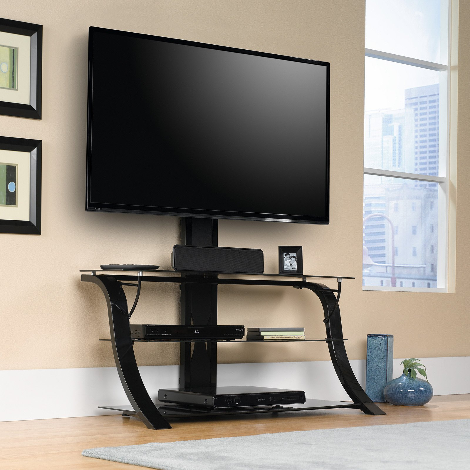 """Sauder Panel Tv Stand With Mount For Tvs Up To 50"""", Black Throughout Edgeware Black Tv Stands (View 15 of 20)"""