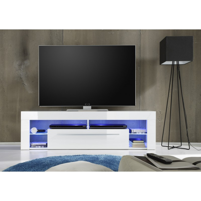 Score Tv Stand In White High Gloss With Led Lights – Tv Pertaining To 57'' Tv Stands With Led Lights Modern Entertainment Center (View 6 of 20)