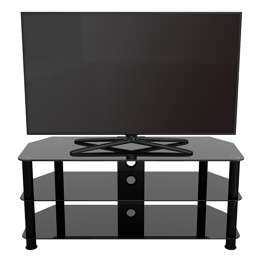 Sdc1140cmbb A: Classic – Corner Glass Tv Stand With Cable Within Avf Group Classic Corner Glass Tv Stands (View 2 of 20)