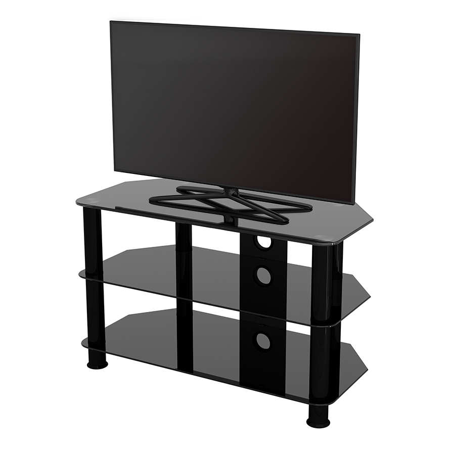 Sdc800cmbb: Classic – Corner Glass Tv Stand With Cable Inside Tv Stands With Cable Management (View 1 of 20)