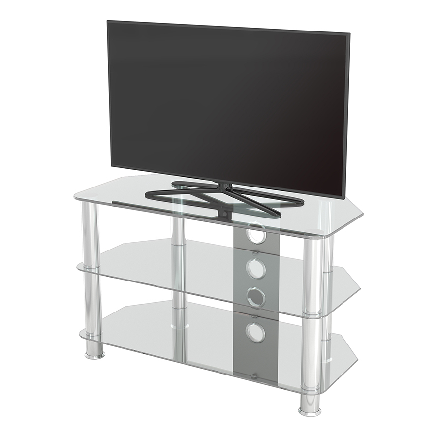 Sdc800cmcc: Classic – Corner Glass Tv Stand With Cable Throughout Avf Group Classic Corner Glass Tv Stands (View 4 of 20)