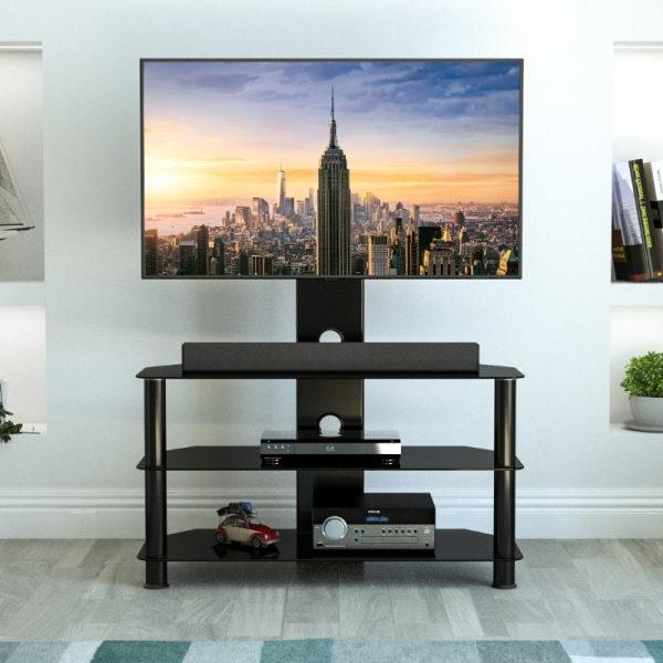 Sdcl900bb A: Classic – Corner Glass Pedestal Tv Stand In Avf Group Classic Corner Glass Tv Stands (View 14 of 20)
