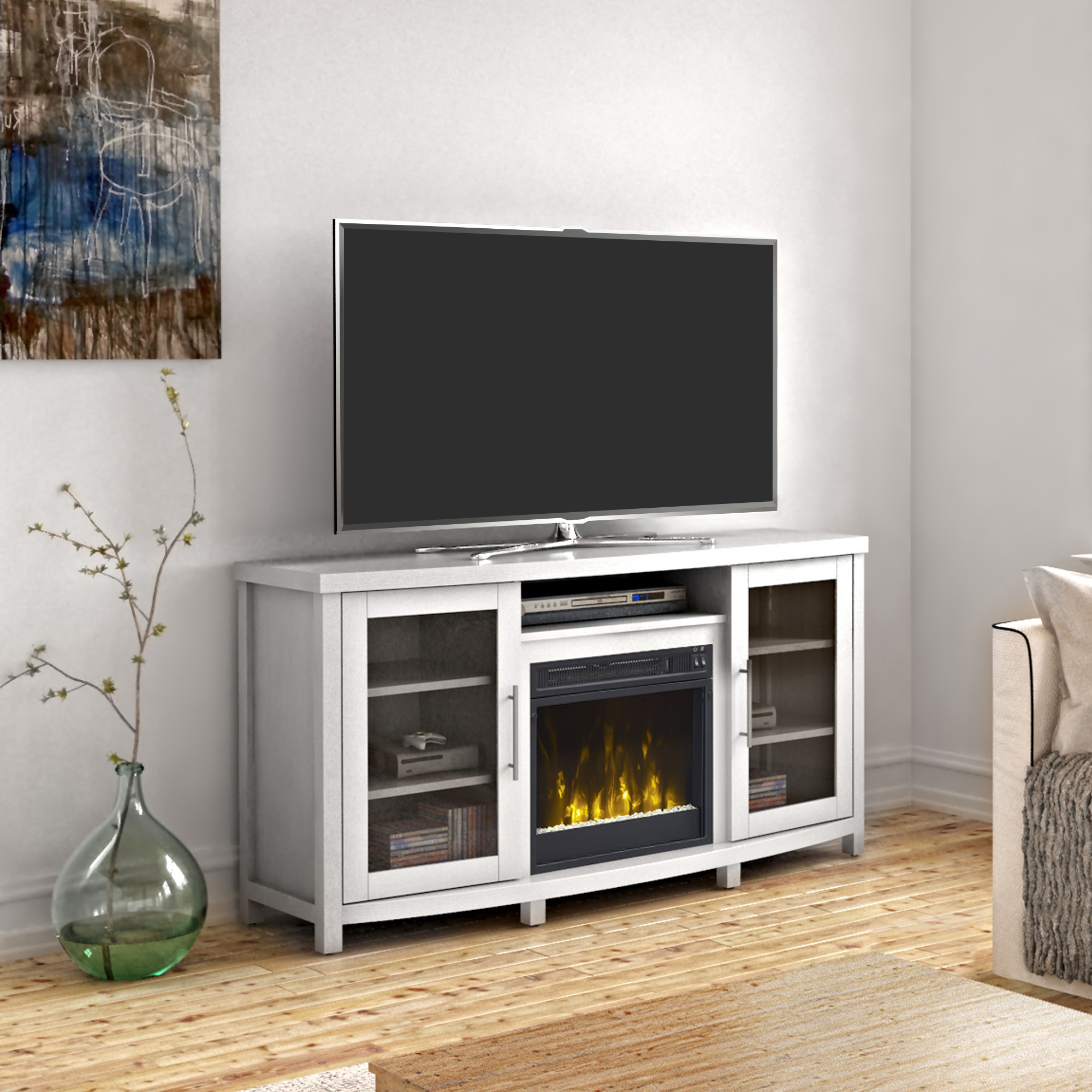 """Sea Meadow White Tv Stand For Tvs Up To 60"""" With Electric For Lorraine Tv Stands For Tvs Up To 60"""" (View 9 of 20)"""