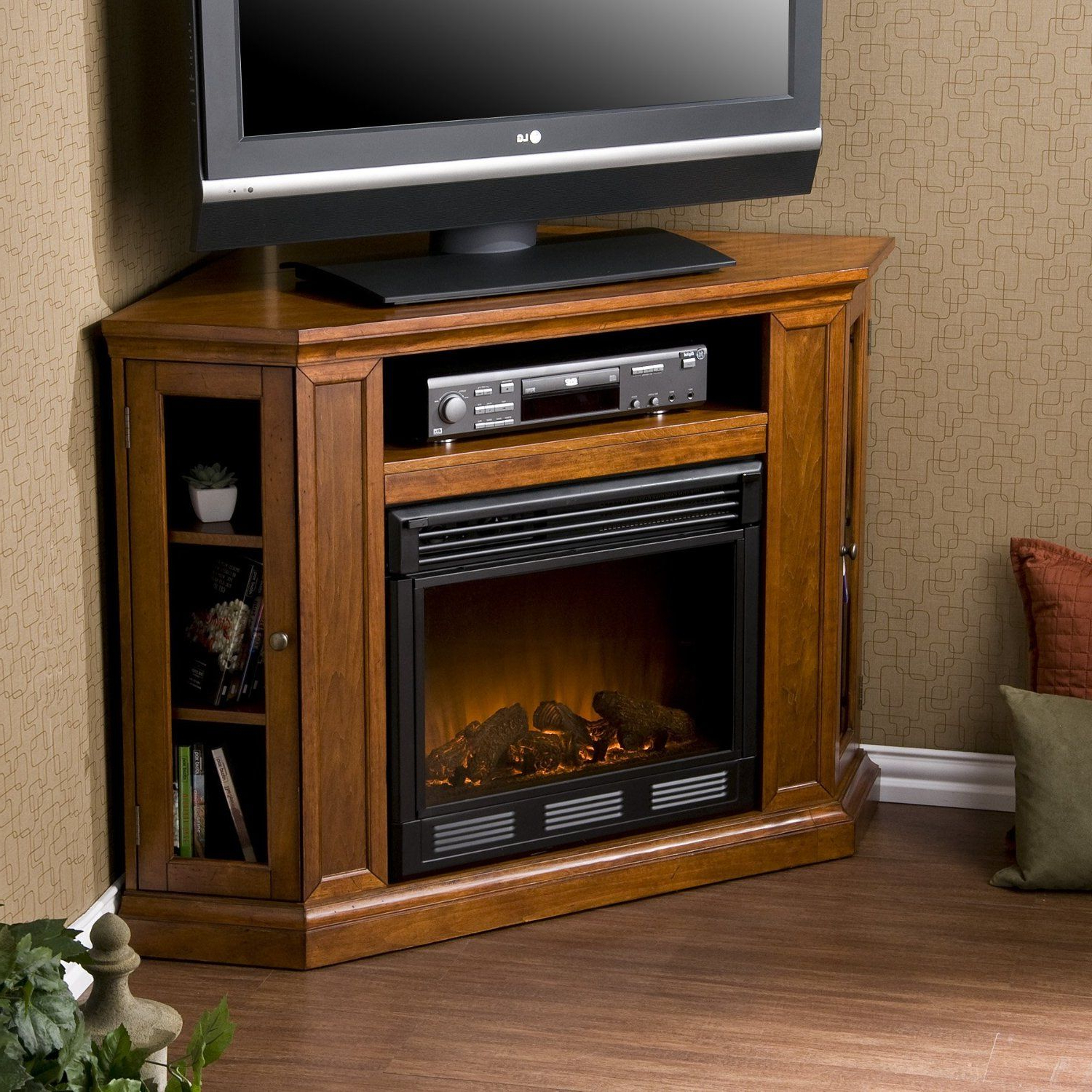 Sei Claremont Media Console Corner Fireplace Tv Stand In With Regard To Compton Ivory Corner Tv Stands (View 17 of 20)