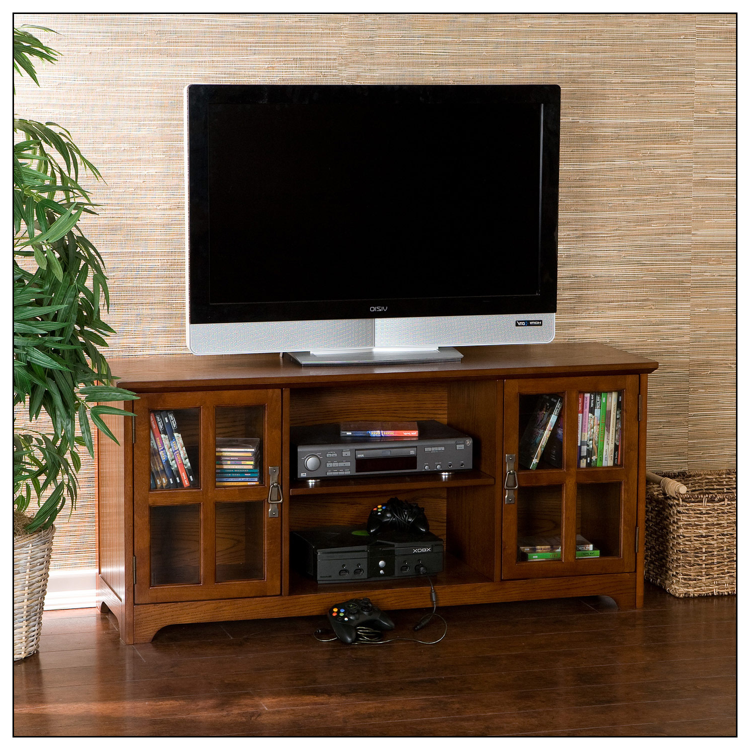 """Sei Tv Stand For Most Flat Panel Tvs Up To 50"""" Mission Oak Regarding Glass Shelves Tv Stands For Tvs Up To 50"""" (View 11 of 20)"""
