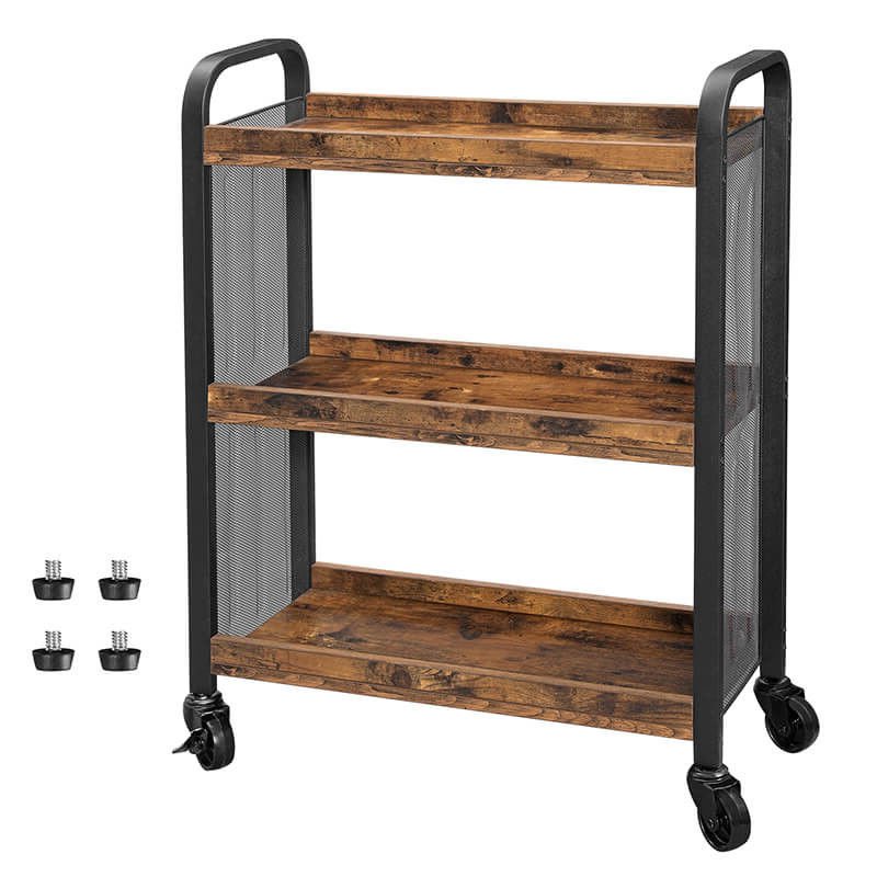 Serving Cart On Wheels, Narrow Kitchen Trolley, Industrial Inside Large Rolling Tv Stands On Wheels With Black Finish Metal Shelf (View 4 of 20)