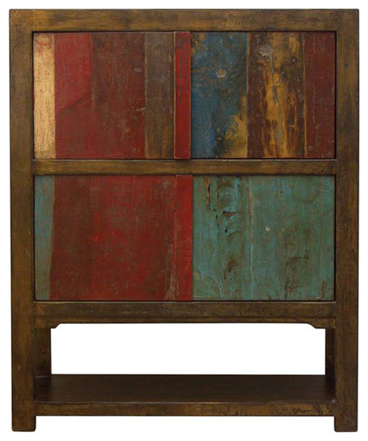 Shelby Gold And Multicolor 4 Door Tall Cabinet – Rustic Throughout Shelby Corner Tv Stands (View 17 of 20)