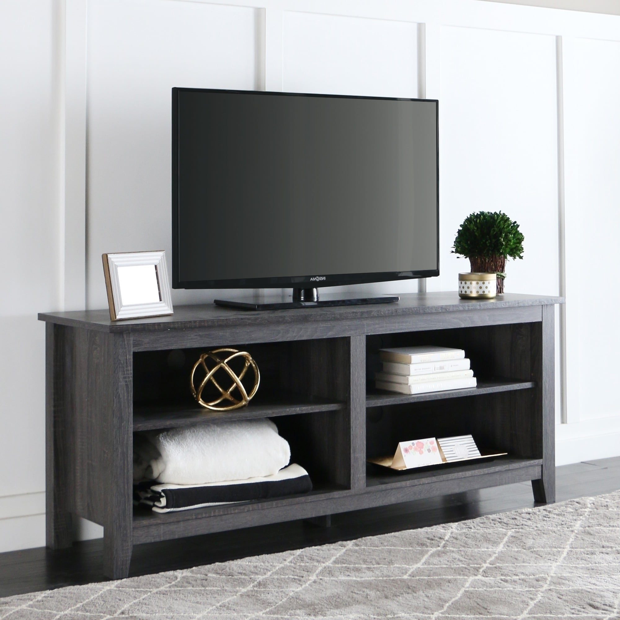 Shop 58 Inch Wood Charcoal Grey Tv Stand – Free Shipping Pertaining To Delphi Grey Tv Stands (View 3 of 20)