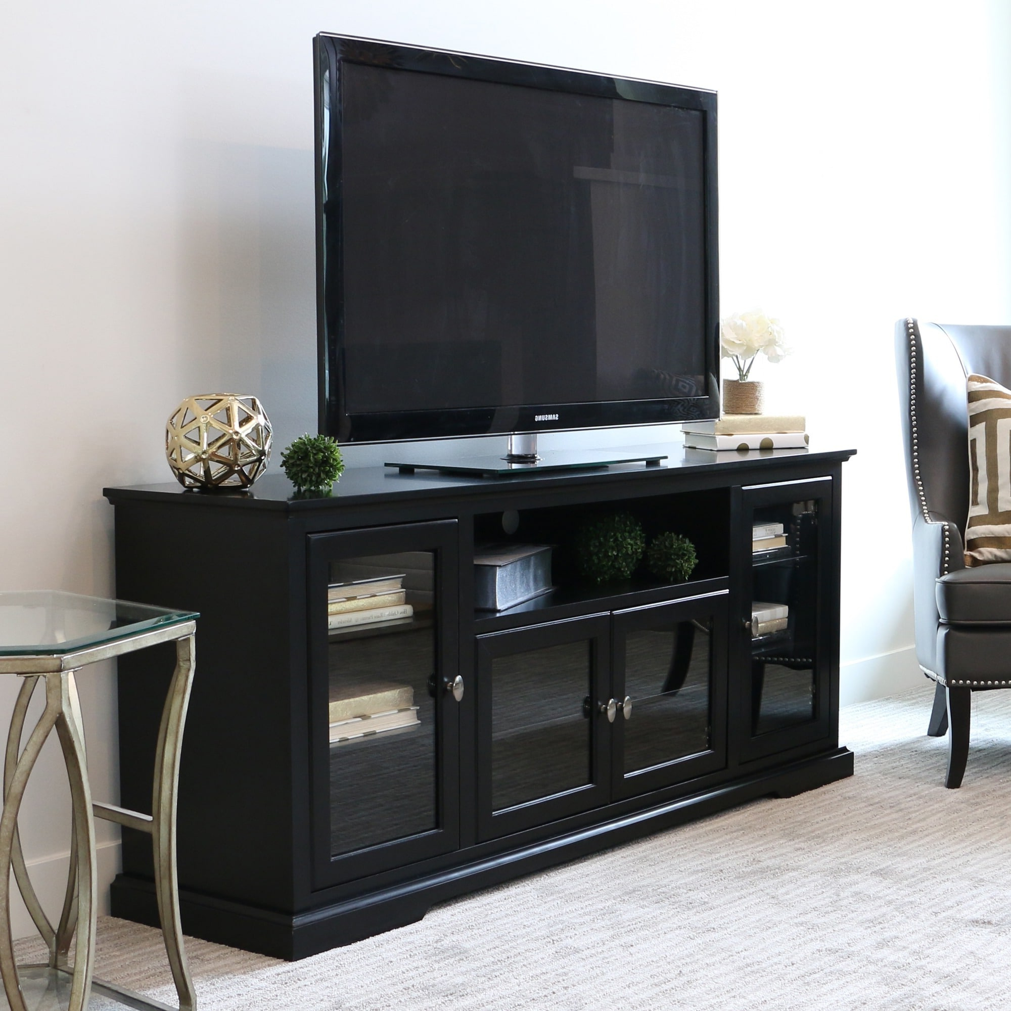 Shop 70 Inch Black Wood Highboy Tv Stand – Free Shipping For Modern Black Tv Stands On Wheels (View 2 of 20)