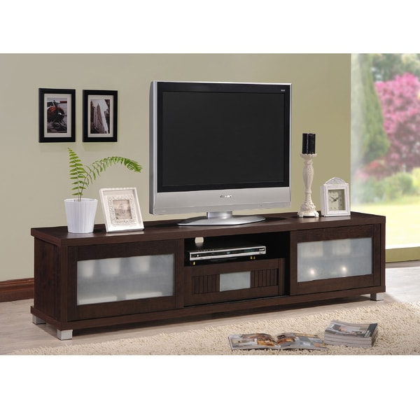 Shop Baxton Studio Temple Contemporary Dark Brown Wood 70 For 57'' Tv Stands With Open Glass Shelves Gray & Black Finsh (View 13 of 20)