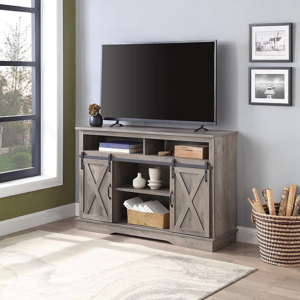 """Shop Belleze Parker 52"""" Tv Stand Sliding Barn Door Console Pertaining To Jaxpety 58"""" Farmhouse Sliding Barn Door Tv Stands In Rustic Gray (View 15 of 20)"""