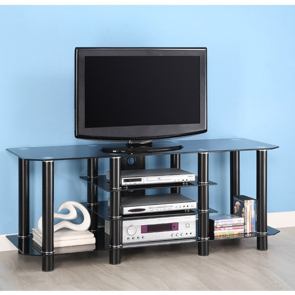 Shop Black Glass 60 Inch Tv Stand – Overstock – 3457041 With Regard To Modern Black Floor Glass Tv Stands For Tvs Up To 70 Inch (View 6 of 20)