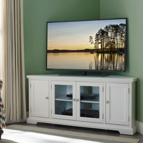 """Shop Copper Grove Hoxie White Wood/ Glass Corner Tv Throughout Wood Corner Storage Console Tv Stands For Tvs Up To 55"""" White (View 13 of 20)"""