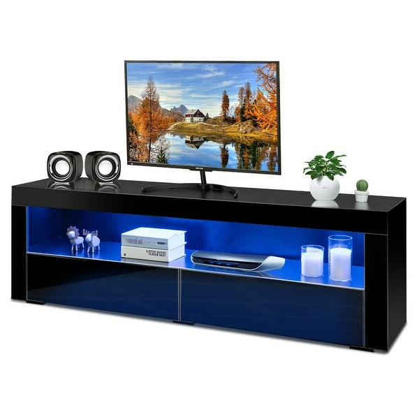 Shop Costway High Gloss Tv Stand Media Entertainment W/led Within 57'' Led Tv Stands With Rgb Led Light And Glass Shelves (View 9 of 20)
