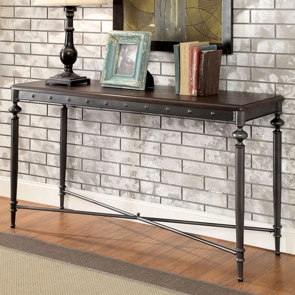 Shop Furniture Of America Gete Industrial Grey Metal In Emmett Sonoma Tv Stands With Coffee Table With Metal Frame (View 7 of 20)