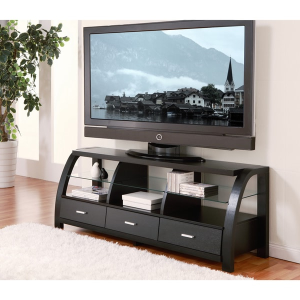 Shop Furniture Of America Grove Black 60 Inch 3 Drawer Tv In Tv Stands With Drawer And Cabinets (View 9 of 20)