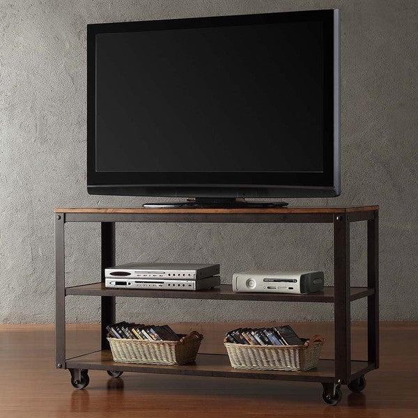 Shop Granger Industrial Rustic Storage Metal Frame Tv Regarding Modern Black Tv Stands On Wheels With Metal Cart (View 5 of 20)