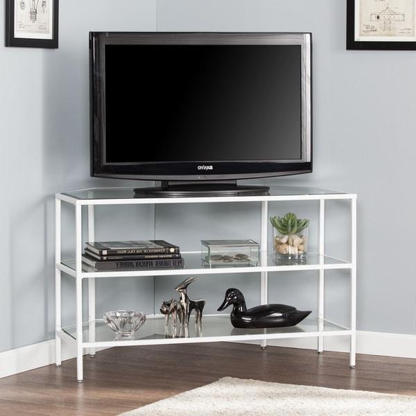 Shop Kalani Metal/glass Corner Optional Tv Stand  White With Conrad Metal/glass Corner Tv Stands (View 2 of 20)