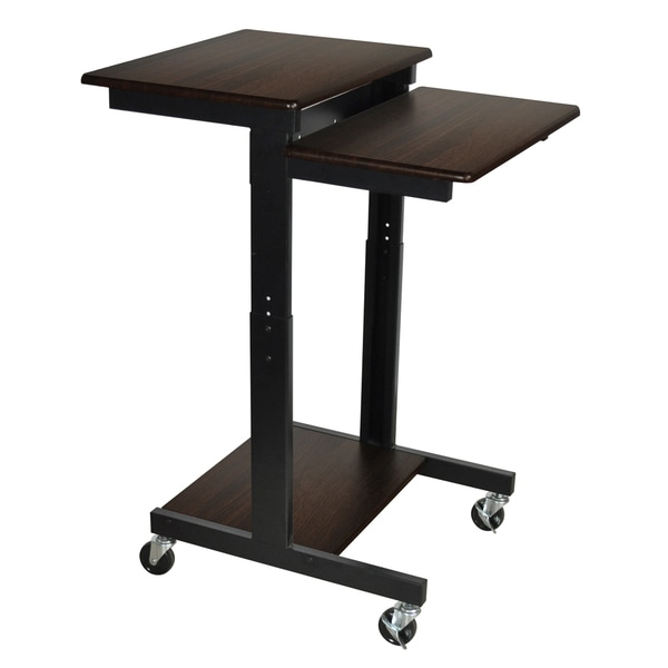 Shop Luxor Walnut Adjustable Height Computer Workstation For Modern Mobile Rolling Tv Stands With Metal Shelf Black Finish (View 9 of 20)